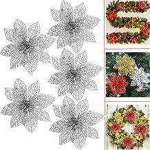 "Glitter Poinsettia Christmas Tree Flowers Ornaments - 5PCS 4"" Christmas Tree Wreaths Garland Holiday Seasonal Wedding Birt..."