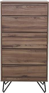 Marque Amazon - Rivet Commode à tiroirs, 60x40x115cm, Finition noyer