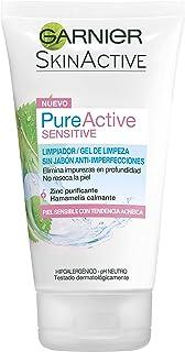 Garnier Skin Active Pure Active Sensitive Limpiador de poros sin Jabón Anti-Imperfecciones para Pieles Sensibles con Zinc...