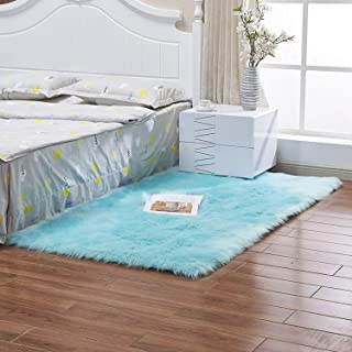 Bedroom Faux Mats Washable Artificial Textile Area Square Rugs Home Decor