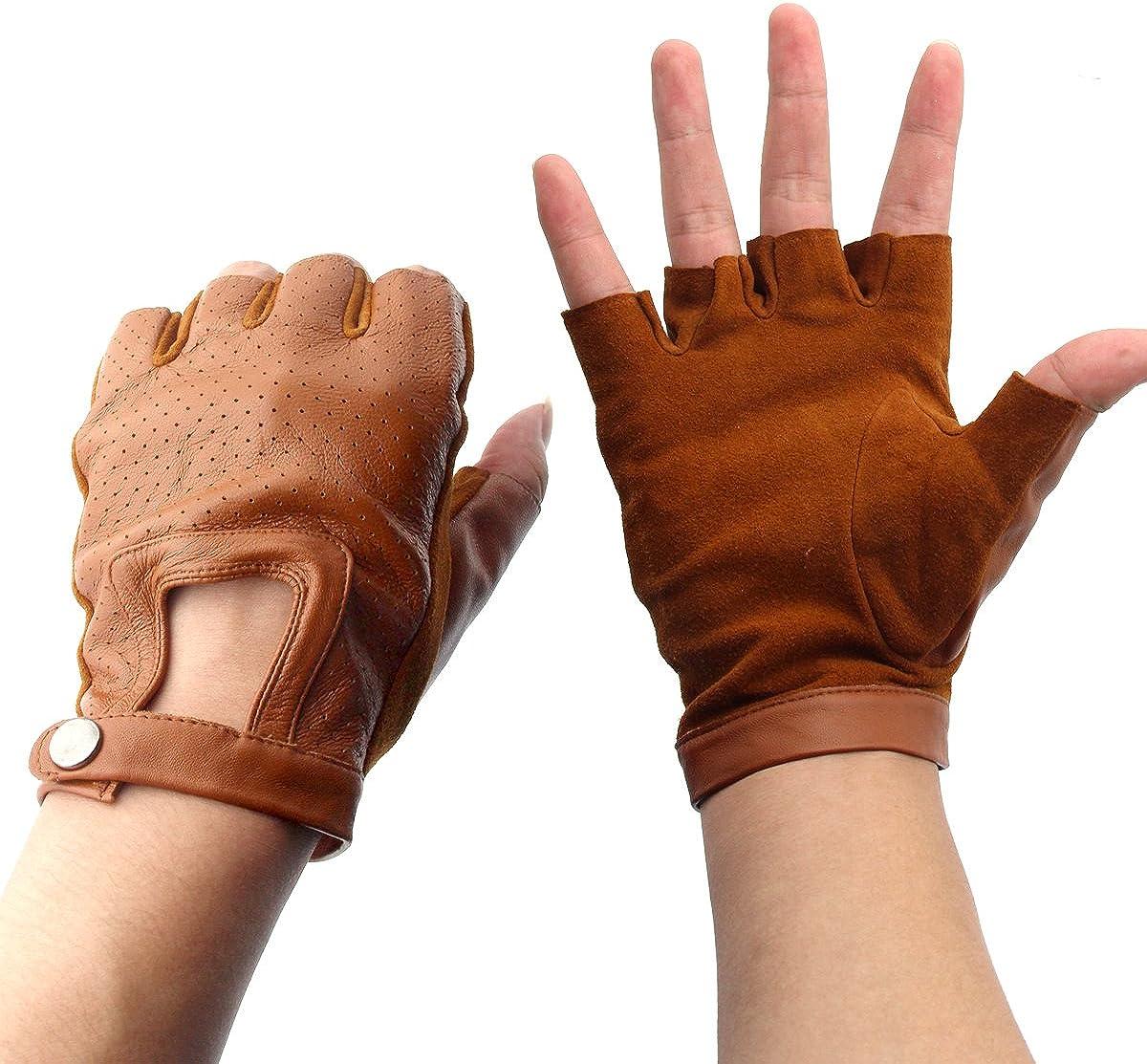 Genuine Leather Sheepskin Fingerless Driving Gloves, Camel, Size Medium