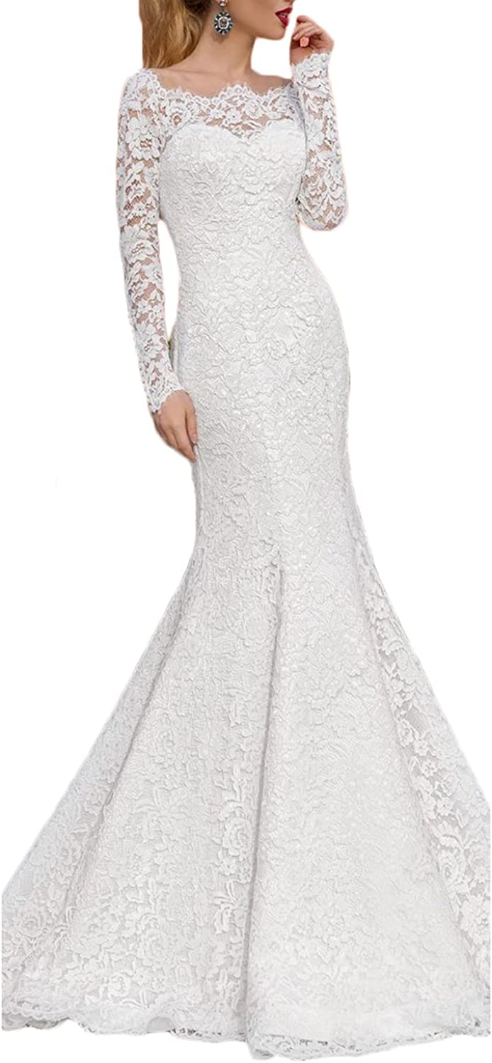 Alilith.Z Elegant Bateau Neck Bridal Gowns Long Mermaid Lace Wedding Dresses for Bride with Sleeves