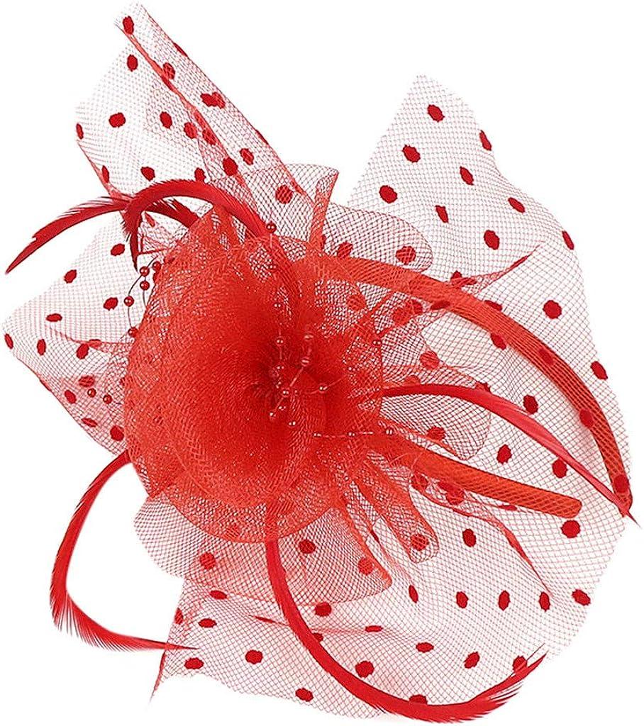 Flower Cocktail Tea Party Headwear Feather Fascinators Top Hat for Women Wedding Headpiece,Hair Decor Accessory