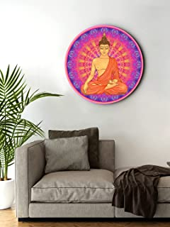 999Store small frames for wall decor room office Meditation Buddha Multi Color Round Shape wall art painting wall hanging...