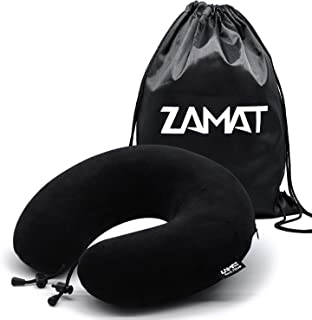 ZAMAT Breathable & Comfortable Memory Foam Travel Pillow, Adjustable Travel Neck Pillow for Airplane Travel, 360° Stable Neck Support Airplane Pillow with Soft Velour Cover, Portable Bag (Black)