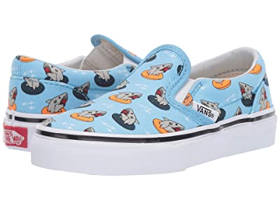 Vans Kids Classic Slip-On (Little Kid/Big Kid) ((Floatie Sharks) Sailor Blue/True White) Boys Shoes