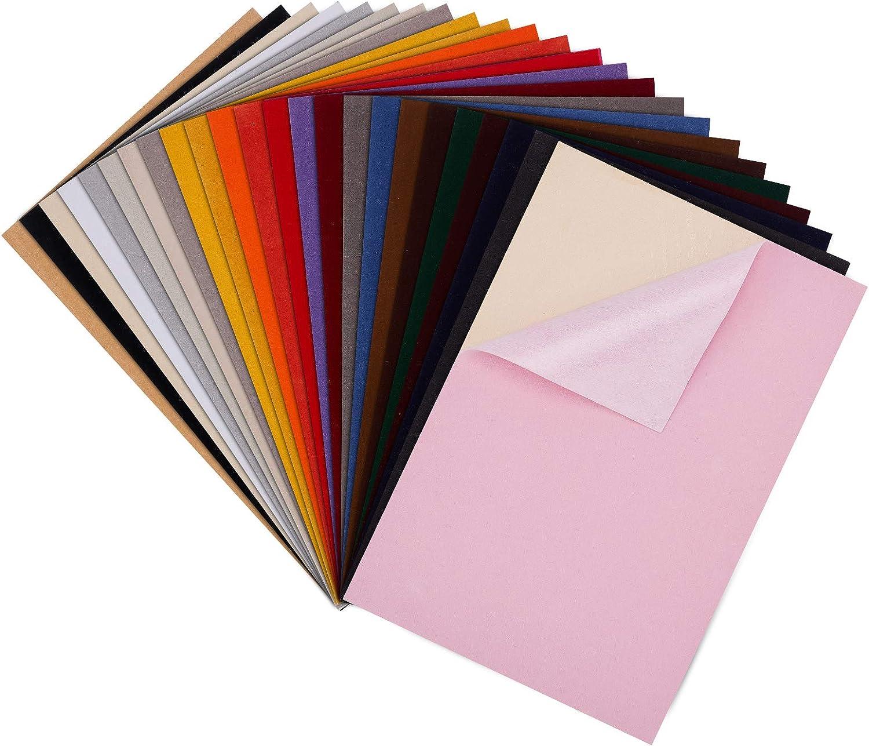BENECREAT 20 PCS Hojas Adhesivas de Terciopelo de Colores Mezclados, 29.5x20cm, Tela para Forro de Caja de Joyería, Duradera y Resistente al Agua para Hacer Arte y Manualidades