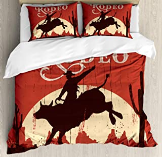 Ambesonne Vintage Duvet Cover Set, Rodeo Cowboy Riding Bull Wooden Old Sign Western Style Wilderness at Sunset Image, Decorative 3 Piece Bedding Set with 2 Pillow Shams, Queen Size, Redwood Orange