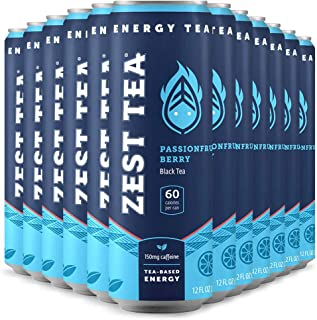 Zest Tea Energy Ice Tea, High Caffeine Low Sugar Blend Natural & Healthy Coffee Substitute, 150 mg Caffeine per 12 Oz Can, Passionfruit Berry, 12 Pack