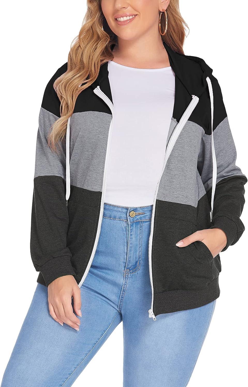 IN'VOLAND Plus Size Hoodies for Women Zip Up Jacket Lightweight Color Block Long Sleeve Hooded Sweatshirts 16W-28W
