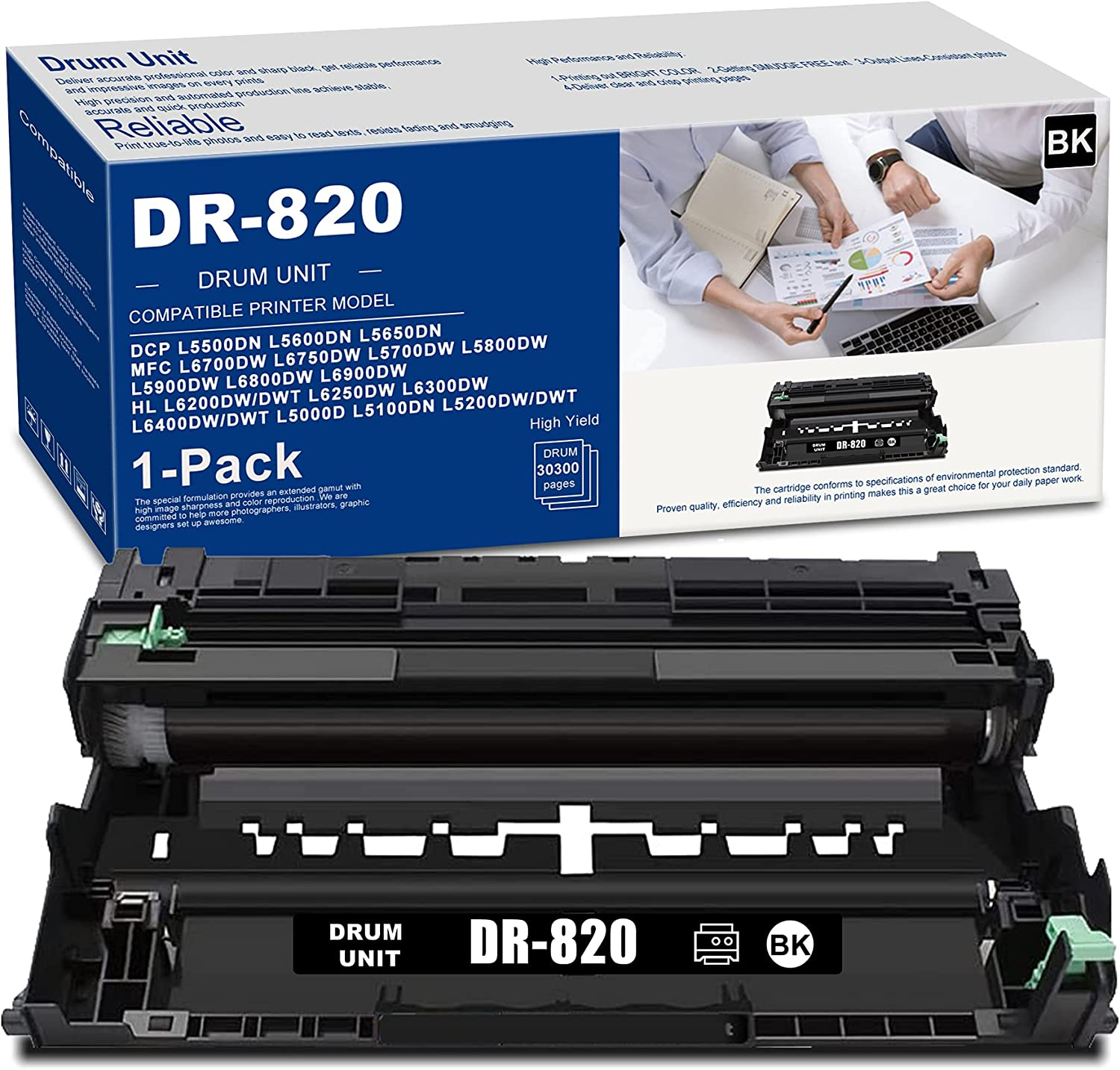 (1 PK Black) DR820 DR-820 Drum Unit High Yield Compatible Replacement for Brother DCP L5600DN L5500DN L5650DN MFC L5700DW L5800DW L6750DW L5900DW L6700DW L6800DW L6900DW Printer