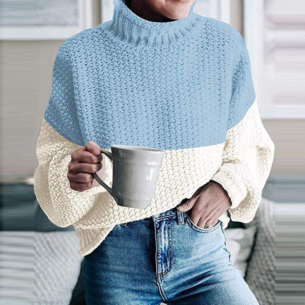 ZEELIY Damen Rollkragen Strickpullover Strickpulli Einfarbig Langarm Pulli Pullover Grobstrick Sweatshirt Winterpullover X1-blau