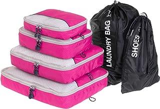 Globite 6 Piece Travel Set Premium Space Saving Luggage Organizer Bundle (4 Packing Cubes, 1 Laundry Bag & 1 Shoe Bag) (Pink)