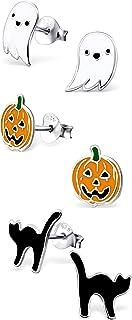 ICYROSE 925 Sterling Silver Set of 3 Pairs Halloween Set Ghost, Orange Pumpkin Jack-O-Lantern , Black Cat Stud Earrings for Girls (Nickel Free) 20509