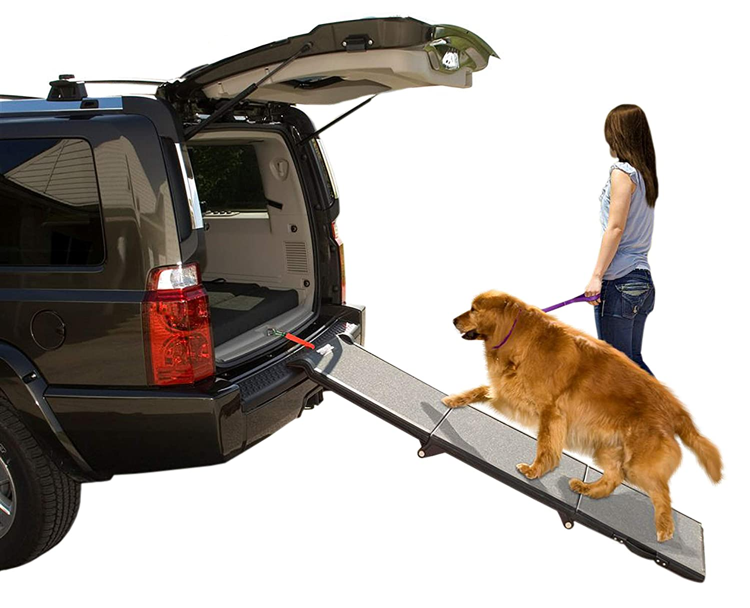 Pet Gear Tri-Fold Ramp 71 Inch Long Extra Wide Portable Pet Ramp for  Dogs/Cats up to 200lbs, Patented Compact/Easy Fold with Safety Tether:  Amazon.in: Pet Supplies