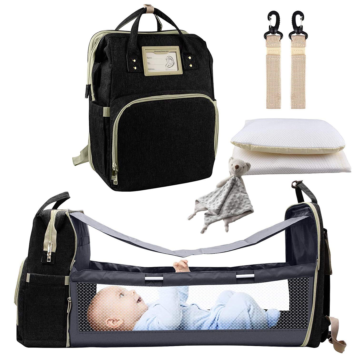 7 in 1 Diaper Bag Backpack Including a Premium Baby Blanket - Diaper Bag with Changing Station - Baby Crib with Infant Travel Pad - Expanding Diaper Bag- Exclusive Prime