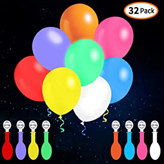 iFUNow 32 Pack LED Balloons Flashing, 8 Colors Light Up Balloons, Lasts 12-24 Hours for Glow in the Dark Party Supplies, Birthday Decorations, Halloween Party