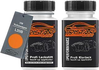 TRISTARcolor Autolack Lackstift Set für VW/Volkswagen L20B Leuchtorange Basislack Klarlack je 50ml
