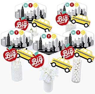 Big Dot of Happiness NYC Cityscape - New York City Party Centerpiece Sticks - Table Toppers - Set of 15