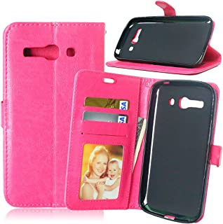 JINXIUS for Phone Cases Cover, Solid Color Premium PU Leather Wallet Magnetic Buckle Design Flip Folio Protective Case Cover with Card Slot/Stand for Alcatel One Touch Pop C9 7047D (Color : Rose)