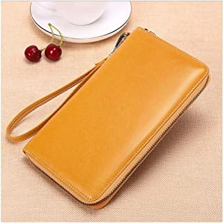 RFID Anti-degaussing Large-Capacity Long-Style European and American Oil Wax Cowhide Women's Multi-Card Position Genuine Leather Wallet