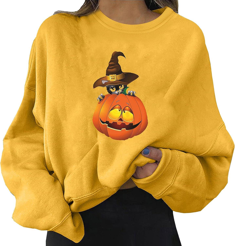 Halloween Sweatshirt for Women, Fashion Funny Pumpkin Print Shirt Casual Long Sleeve Crewneck Pullover Loose Fit Tops