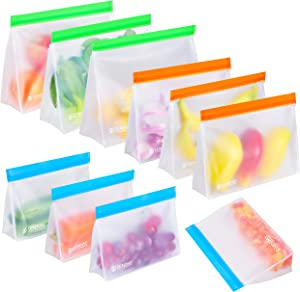 10 Pack Extra Large Reusable Storage Bags, Stand Up Leakproof Freezer Bags for Food Storage, 3 Gallon Bags + 3 Sandwich Bags + 4 Snack Bags Reusable Freezer Bags for Meat Fruit Veggies | BPA Free