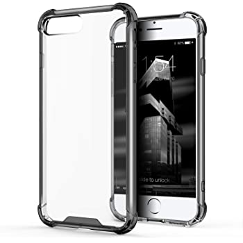 """Egotude® Hard PC Back Soft Silicone Bumper Cover Case for Apple iPhone 7 Plus & 8 Plus 5.5"""" (Smoked Black)"""