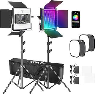 Neewer 2 Pack Luz LED 480 RGB con Control de Aplicación, Kit de Iluminación de Video para Fotografía con Soportes y Caja d...