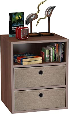 Klaxon Statice Side Table/Wooden Three Drawer Storage Cabinet with Two Fabric Box - Walnut & Beige