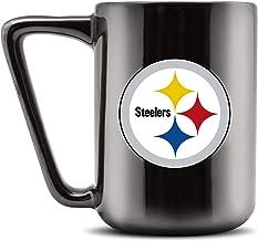 مج قهوة سيراميك بشعار بيتسبورغ ستيلرز الدوري الوطني لكرة القدم الأمريكية من Duck House - أسود معدني، 473 مل