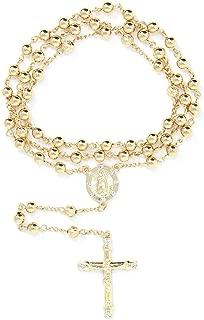 6mm CCB Beads Alloy Crucifix Cross Pendant Rosary Catholic Necklace 20