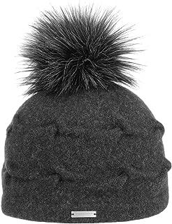 Seeberger Beanie aus reinem Kaschmir mit Fake Fur Pompon