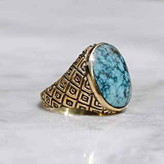 Blue Chrysocolla Ring for Men Women, Oval Stone, Vintage Hippie Jewelry, Pinky Rings