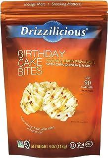 Drizzilicious Birthday Cake Snacks 4oz 6 Pack   Gluten Free Mini Snack Cupcake Rice Cakes   Vegan Air Popped Chia, Quinoa,...
