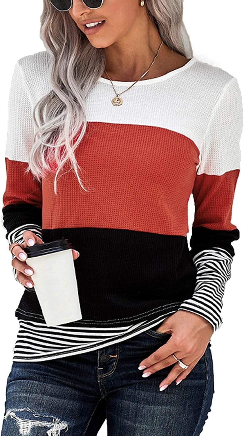 PESION Womens Waffle Knit Tops Long Sleeve shopping lowest price Striped Color Shirts