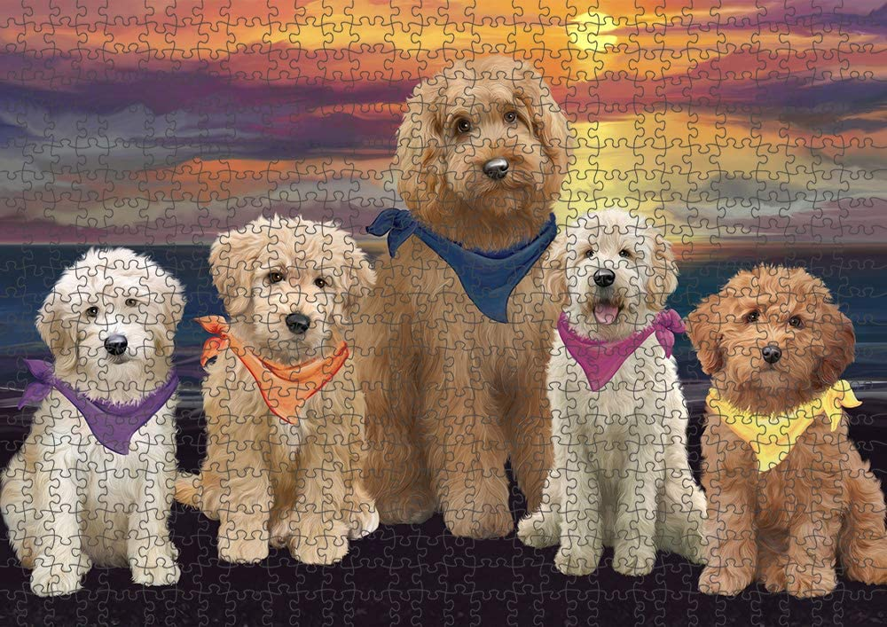 Family Sunset Portrait Max 73% OFF Special sale item Goldendoodles Dog Puzzle with Tin Photo P