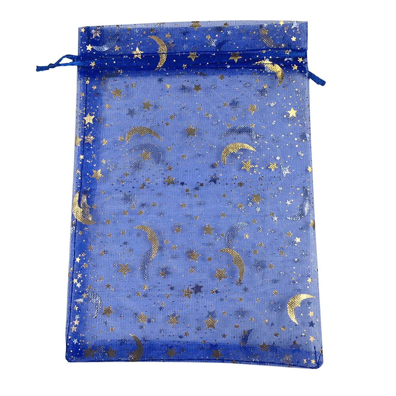 COTOSEY 100PCS Stars and Moon Organza Drawstring Pouches Jewelry Party Wedding Favor Gift Bags (4 x 6 Navy Blue)