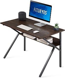 FITUEYES Computer Gaming Bureau met Rack Hout Vintage Bruin K-vormige Schrijven Tafel Werkstation voor Thuiskantoor 106x60...