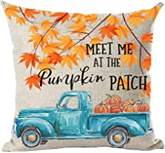 ramirar Hand Painted Watercolor Blue Pickup Truck Orange Maple Leaves Pumpkins Patch Decorative Throw Pillow Cover Case Cushion Home Living Room Bed Sofa Car Cotton Linen Square 18 x 18 Inches