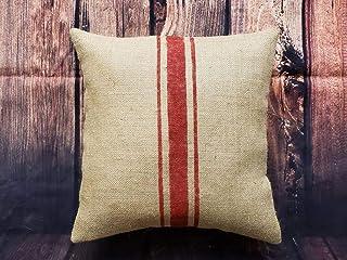 To243Finn Funda de almohada de arpillera natural a rayas de color rústico.