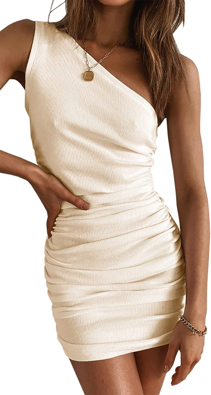 Meikulo Bodycon Dresses for Women Mini Dress Casual Summer One Shoulder Ruched Dresses Sexy Sleeveless Ribbed Tank Short Dress Party Club Night Nude, Small