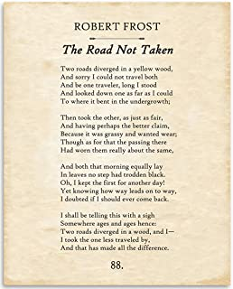 Robert Frost - The Road Not Taken - 11x14 Unframed Typography Book Page Print - Great Gift for Book Lovers, Also Makes a Great Gift Under $15