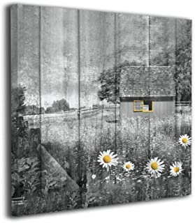 Okoart Canvas Wall Art Prints Rustic Farmhouse Country Barn Landscape Daisy Flowers Yellow Gray Photo Paintings Contemporary Decorative Artwork for Living Room Wall Decor and Home Decor