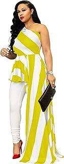 Women Sexy Striped One Shoulder High Low Irregular Tunic Tops Blouse Shirt Maxi Dress