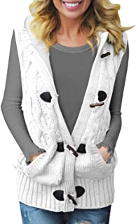 Women Button Up Cardigan Knit Hooded Cable Sweater Coat...