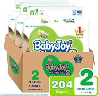 Babyjoy 2x Compressed Diaper, Jumbo Pack Small Size 2, Count 204, 3.5 - 7 KG