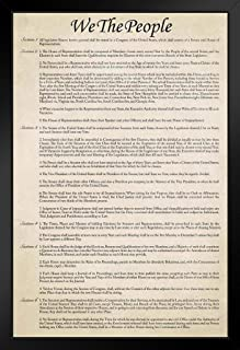 アメリカ合衆国憲法歴史文書複製 米国歴史教室 教師 教育 アメリカ政府 ブラック木製フレームポスター 14x20