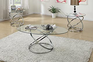 Poundex F3087 Occasional Table Set with Spinning Circles Base Design, Multi