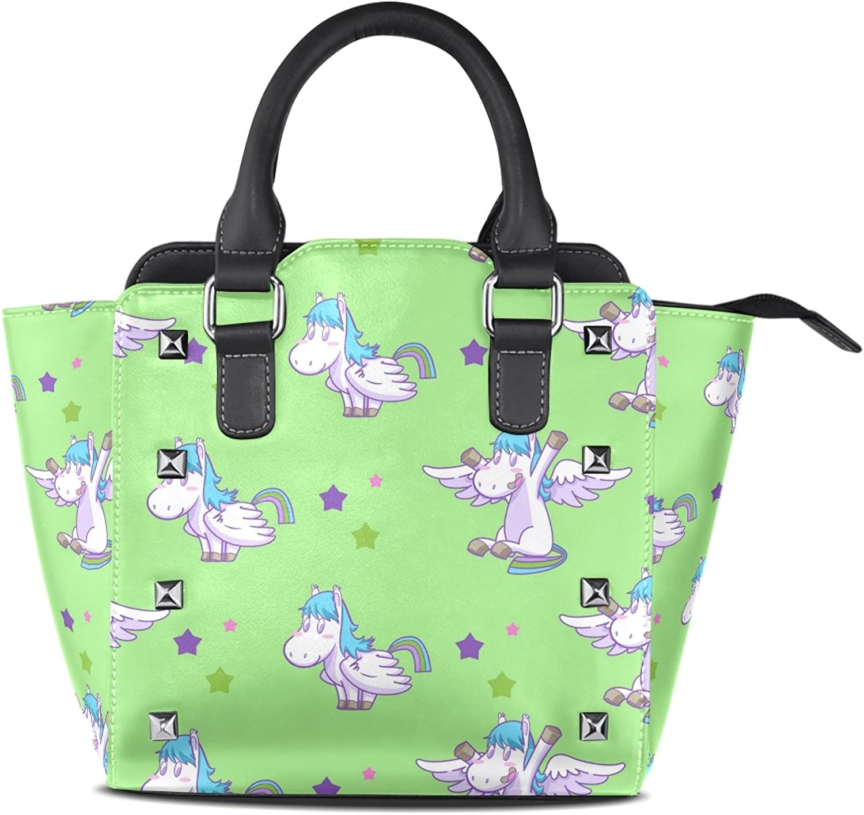 Sunlome Mystical Cute Cartoon Pegasus Stars Green Print Handbags Women's PU Leather Top-Handle Shoulder Bags